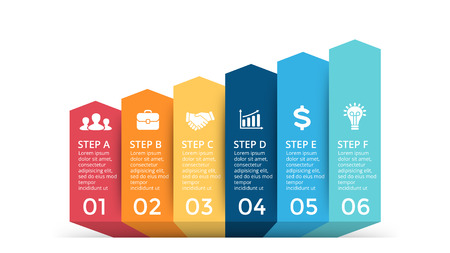 Vector up arrows infographic, progress diagram chart, stairs graph presentation. Business succecc concept with 6 options, parts, steps, processes.