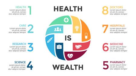 medical emergency: Vector plus infographic, medical diagram, healthcare graph, hospital presentation, emergency chart. Medicine doctor logo. Concept with 8 options, parts, steps, processes. Illustration