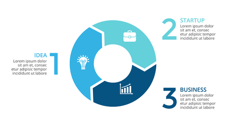 サークル矢印インフォ グラフィックをベクトル、サイクル図、グラフ、プレゼンテーションのグラフ。3 のオプション、部品、ステップのビジネス