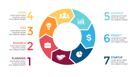 flèches cercle vecteur infographiques, diagramme de cycle, graphique, tableau de présentation. Business concept avec 7 options, pièces, étapes, processus. diapositive 16x9.