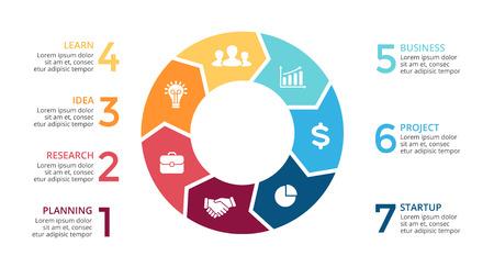 Flechas del círculo del vector de infografía, diagrama del ciclo, gráfico, gráfico de presentación. Concepto de negocio con 7 opciones, partes, etapas, procesos. diapositiva 16x9.