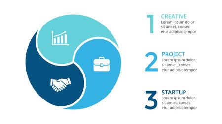 Frecce vettoriali freccia infografica, diagramma ciclo, grafico, diagramma di presentazione. Concetto di business con 3 opzioni, parti, passi, processi.