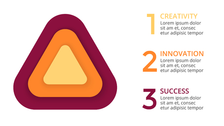 targets: Vector circle arrows infographic, cycle diagram, triangle graph, presentation chart. Business concept with 3 options, parts, steps, processes. 3d layers. 16x9 slide.