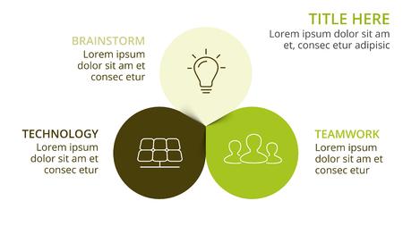 벡터 동그라미 화살표 녹색 나뭇잎 에코 infographic. 생태학 다이어그램, 꽃 그래프, 프레 젠 테이 션, 차트. 3 가지 옵션, 파트, 단계가있는 유기농 자연  일러스트