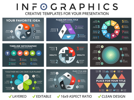 7 8: Vector circle arrows infographic set, cycle diagrams, start up graph, presentation pie chart. Business concept with 3, 4, 5, 6, 7, 8 options, parts, steps, processes. 16x9 slide templates.