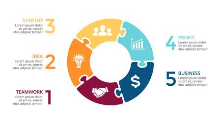 Vektorkreispfeile infographic, Zyklusdiagramm, Laubsägetisch, Darstellungsdiagramm. Geschäftskonzept mit 5 Wahlen, Teilen, Schritten, Prozessen.