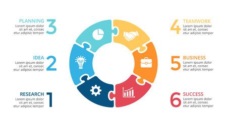 Circulation vectorielle, diagramme de cycle, graphique de scie sauteuse, tableau de présentation. Concept d'entreprise avec 6 options, pièces, étapes, processus.