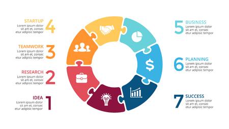 Vector Kreispfeile Puzzle Infografik, Zyklusdiagramm, Stichsäge Grafik, Präsentation Diagramm. Business-Konzept mit 7 Optionen, Teile, Schritte, Prozesse. Vektorgrafik