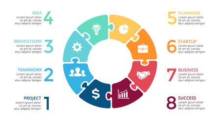 Vector cercle flèches puzzle infographique, diagramme de cycle, graphique de la scie sauteuse, tableau de présentation. Concept d'entreprise avec 8 options, pièces, étapes, processus.