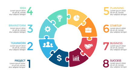 Wektor koło strzałki puzzle infografikę, schemat cyklu, wykres układanki, wykres prezentacji. Koncepcja biznesowa z 8 opcjami, częściami, krokami, procesami.