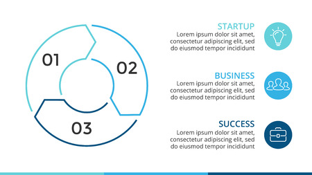 Vector cirkel lineaire infographic pijlen, cyclusdiagram, grafiek, presentatiecirkeldiagram. Bedrijfsconcept met 3 opties, onderdelen, stappen, processen. 16x9 dia sjabloon.