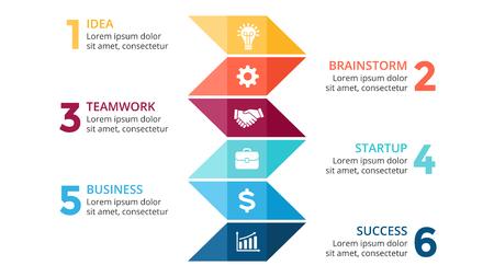 tournament chart: Vector arrows infographic, diagram chart, timeline graph presentation. Business concept with 6 options, parts, steps, processes. 16x9 slide template.