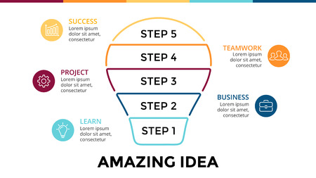 idea lamp: Vector light bulb linear infographic. Template for circle diagram, graph, presentation and round chart. Business startup idea lamp with 5 options, parts, steps, processes. Successful brainstorming. Illustration