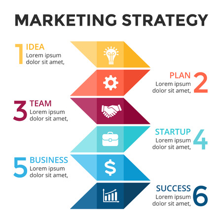 Vector setas infográfico, gráfico de diagrama, apresentação do gráfico. Conceito abstrato de negócios com 6 opções, partes, etapas, processos. Cronograma de escadas de marketing. Caminho para o sucesso.