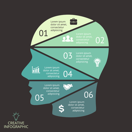 graphs and charts: Vector brain infographic. Template for human head diagram, artificial intelligence graph, neural network presentation and face chart. Business idea concept with 6 options, parts, steps. Brainstorming.