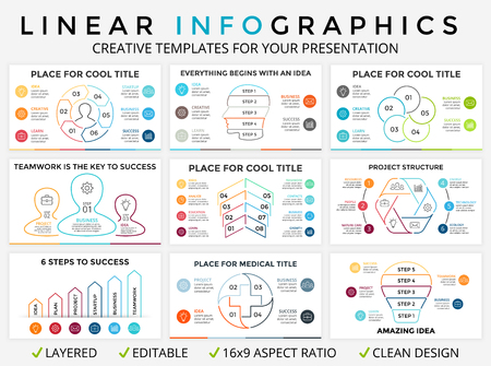 Vector circle arrows linear infographic, cycle diagram, graph, presentation chart. Business concept with 3, 4, 5, 6, 7, 8 options, parts, steps, processes. Light bulb, medical plus sign, human head.