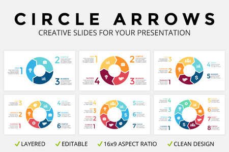 Vector circle arrows infographic, cycle diagram or graph, 16x9 slide presentation pie chart. Business concept template with 3, 4, 5, 6, 7, 8 options, parts, steps, processes. Clean and simple. Minimal flat design.  イラスト・ベクター素材