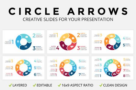 Vector le frecce del cerchio infographic, il diagramma del ciclo o il grafico, grafico a torta di presentazione della trasparenza 16x9. Modello di concetto di business con 3, 4, 5, 6, 7, 8 opzioni, parti, passi, processi. Pulito e semplice Design piatto minimale. Archivio Fotografico - 71309369