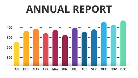 meses del año: Vector arrows infographic, diagram lines color chart, graph presentation. Annual report. Business year concept with 12 months. Vectores