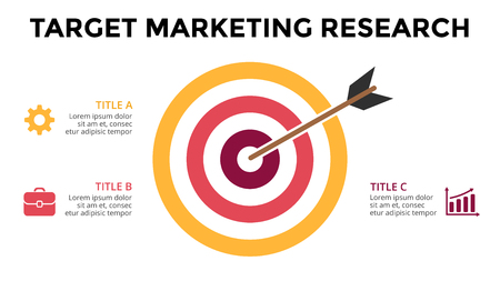 marketing research: Vector circle arrow infographic, cycle diagram, graph, presentation chart. Target hit marketing research. Business concept with 3 options, parts, steps, processes. 16x9 slide template.