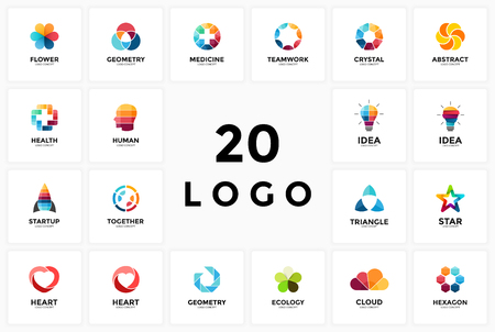 Logo circle creative sign symbol. Design geometric element. Light bulb idea, medical health plus, heart love, startup rocket, star, teamwork together brain head, ecology nature flower leaves, cloud.