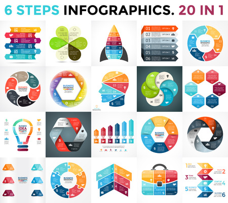 Vector circle arrows infographic, cycle diagram, business graph, presentation chart. 6 options, parts, steps, processes. Human head brain, light bulb, briefcase, puzzle, startup rocket, hexagon, nature eco flower.