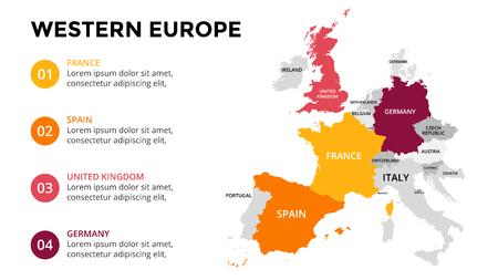 서유럽지도 infographic. 슬라이드 프리젠 테이션. 글로벌 비즈니스 마케팅 개념입니다. 색상 국가. 세계 운송 데이터. 경제 통계 템플릿.