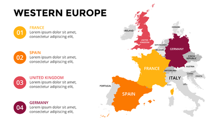 Western Europe map infographic. Slide presentation. Global business marketing concept. Color country. World transportation data. Economic statistic template.