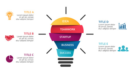 idea lamp: Vector light bulb infographic. Template for circle diagram, graph, presentation and round chart. Business startup idea lamp concept with 5 options, parts, steps, processes. Successful brainstorming.