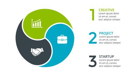 Infografika strzałki koło, schemat cyklu, wykres, wykres prezentacji. Koncepcja biznesowa z 3 opcjami, częściami, krokami, procesami. Ilustracje wektorowe