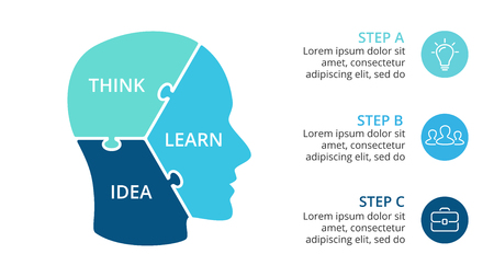 Vector brain infographic. Template for human head diagram, knowledge graph. Illustration