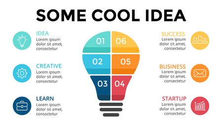 idea lamp: Template for diagram, graph, presentation and layers chart. Business startup idea lamp concept with 6 options, parts, steps, processes. Successful brainstorming.