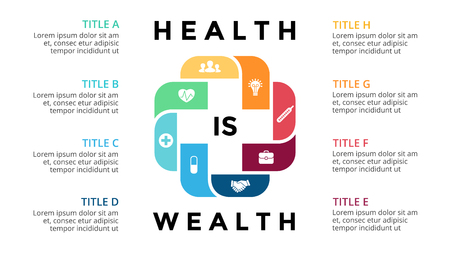 emergency medical: Plus infographic, medical diagram, healthcare graph, hospital presentation, emergency chart. Medicine doctor logo. Concept with 8 options, parts, steps, processes. Illustration