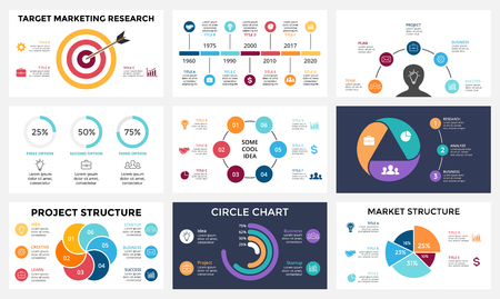 business chart: Marketing infographic, cycle diagram, global business graph, circle presentation chart. 3, 4, 5, 6, 7 options, parts, steps, process. Target market, brain idea, timeline. 16x9 slide template.