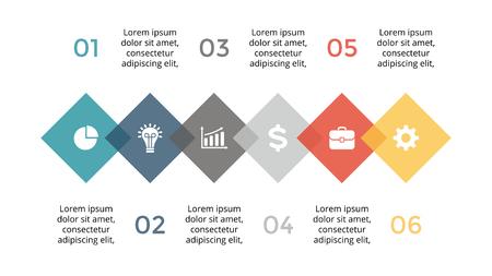 element: Vector infographic, diagram chart, graph presentation. Business template with options, parts, steps, processes. 16x9 slide. Flat trendy minimal design. Illustration