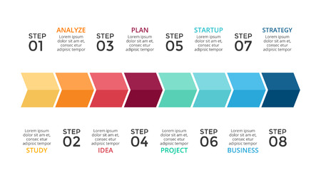 competitions: A Vector arrows timeline infographic, growth diagram chart, performance graph presentation. Business progress concept with 8 options, parts, steps, processes. 16x9 slide template.