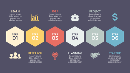 project: Vector timeline hexagons infographic, diagram chart, graph presentation. Business template with 6 options, parts, steps, processes.