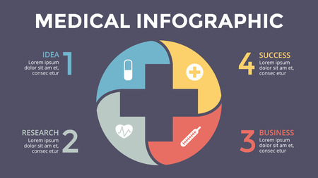 A Vector plus infographic, medical diagram, healthcare graph, hospital presentation, emergency chart. Medicine doctor logo. Concept with 4 options, parts, steps, processes. 16x9 dark slide template.