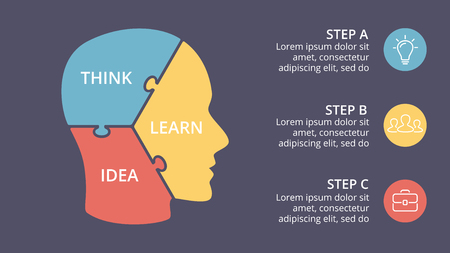 creative: A Vector brain puzzle infographic. Template for human head diagram, knowledge graph, neural network presentation and face chart. Business idea concept with 3 options, parts, steps. Graduate cap.