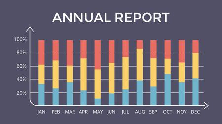 ベクター インフォ グラフィック、図のグラフ、グラフのプレゼンテーション。年次報告書12 ヶ月。  イラスト・ベクター素材