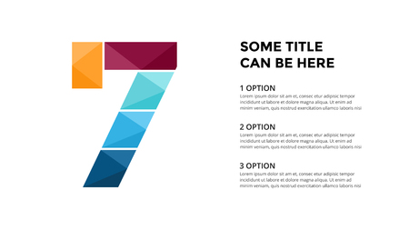Vector alphabet infographic. Presentation slide template. Business font concept with number 7 and place for your text. 16x9 aspect ratio. Ilustrace