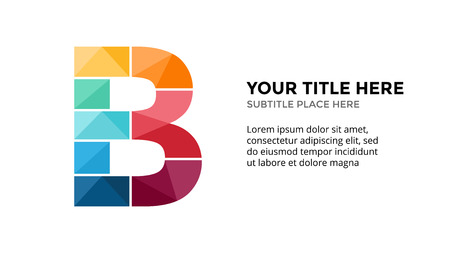 Vector alphabet infographic, presentation slide template. Business concept with letter B and place for your text. 16x9 aspect ratio.