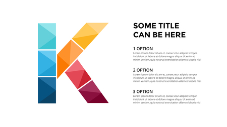 Vector alphabet infographic, presentation slide template. Business concept with letter K and place for your text. 16x9 aspect ratio. Ilustrace