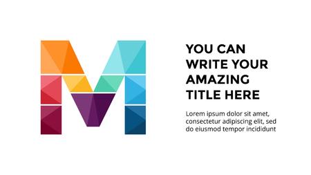 ベクトル アルファベット インフォ グラフィック、プレゼンテーション スライド テンプレート。文字 M とあなたのテキストのための場所のビジネス