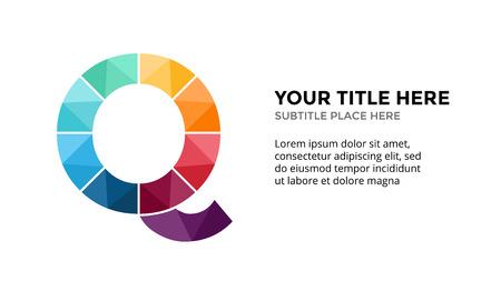 Vector alfabet infographic, presentatie dia sjabloon. Bedrijfsconcept met letter Q en plaats voor uw tekst.