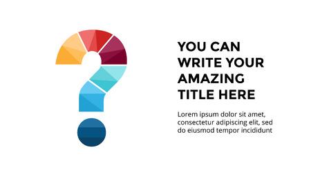 ベクトル アルファベット インフォ グラフィック、プレゼンテーション スライド テンプレート。ビジネス コンセプト質問記号とテキストのための