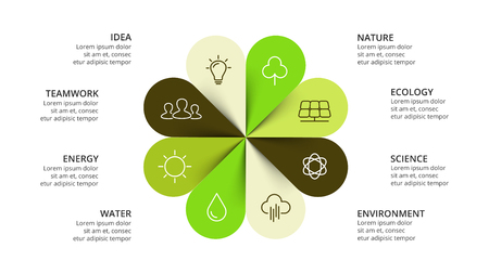 Vector circle arrows flower infographic, cycle nature diagram, eco graph, greenpresentation chart. Business concept with 8 options, parts, steps, processes. Slide ecology template.  イラスト・ベクター素材