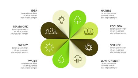 Flèches de cercle de vecteur fleur infographique, diagramme nature cycle, graphique écologique, tableau de présentation verte. Concept d'entreprise avec 8 options, pièces, étapes, processus. Faites glisser le modèle d'écologie. Banque d'images - 81065818