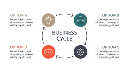 サークル矢印インフォ グラフィックをベクトル、サイクル図、グラフ、プレゼンテーションのグラフ。ビジネス コンセプト 4 のオプション、部品、