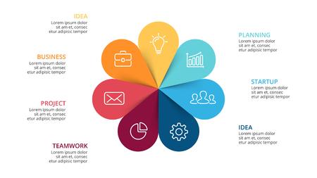 벡터 동그라미 화살표 꽃 infographic,주기 다이어그램, 그래프, 프레 젠 테이 션 차트. 7 옵션, 부품, 단계, 프로세스와 비즈니스 개념. 슬라이드 템플릿.